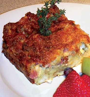 Artichoke, Ham and Goat Cheese Strata
